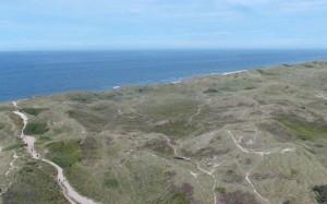 Widok z latarni na bezkresne, zarośnięte trawą wydmy