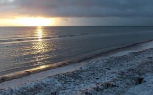 Zimowy krajobraz nad brzegiem morza.