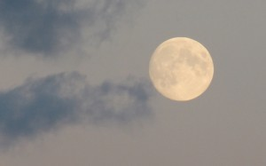 Księżyc w promieniach zachodzącego słońca